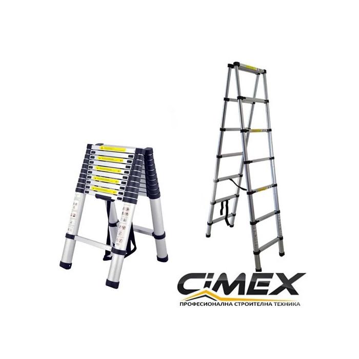 Алуминиева телескопична А-образна стълба Cimex DBL TELELADDER3.2