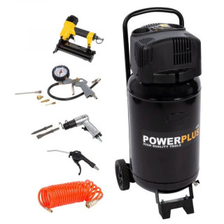 Безмаслен компресор POWER PLUS POWX1751 / 1.1kW, 50 L, 8 bar