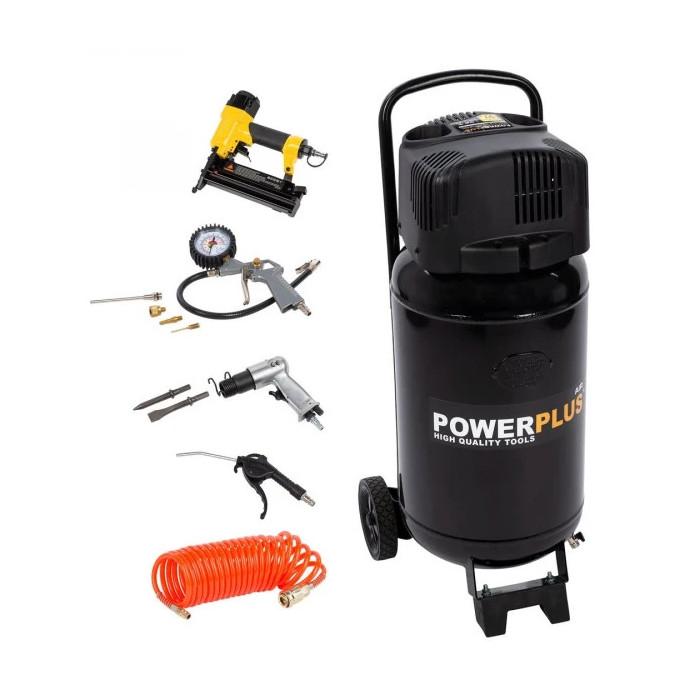 Безмаслен компресор POWER PLUS POWX1751 / 1.1kW, 50 L, 8 bar