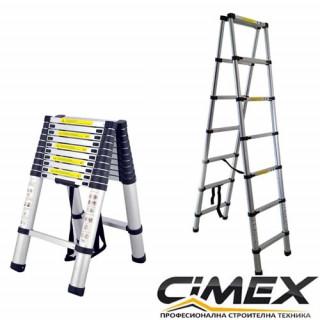 Алуминиева телескопична А-образна стълба Cimex DBL TELELADDER2