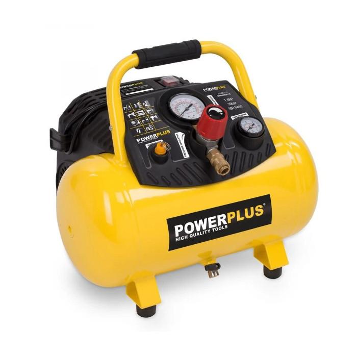 Безмаслен компресор POWER PLUS POWX1723 / 1.1kW, 12 L, 10 bar