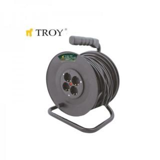 Електрически разклонител с макара TROY T 24050 / 50 метра