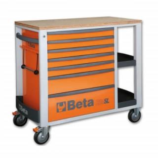 Количка празна с дървен плот и 7 чекмеджета C24SL-O Beta Tools