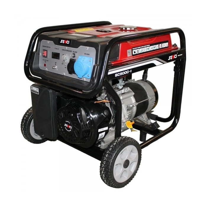 Бензинов генератор монофазен SENCI SC-5000 / 4.5kW, 2x220V