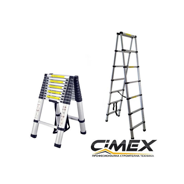 Алуминиева телескопична А-образна стълба Cimex DBL TELELADDER3.8